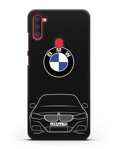 Чехол BMW 3 с автомобильным номером силикон черный для Samsung Galaxy A11 [SM-A115F]