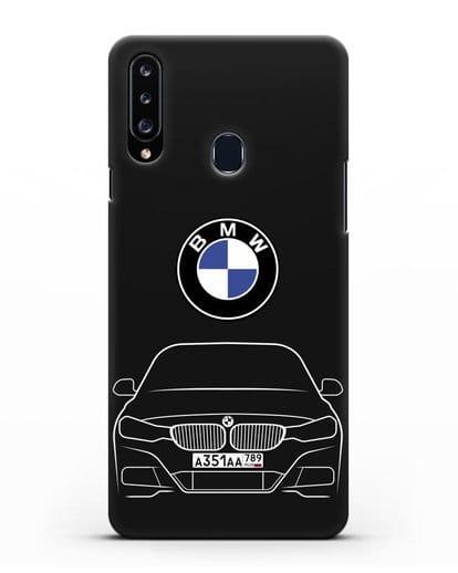 Чехол BMW 3 с автомобильным номером силикон черный для Samsung Galaxy A20s [SM-A207FN]