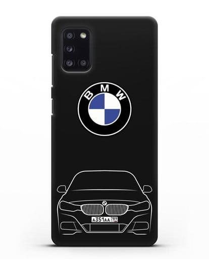 Чехол BMW 3 с автомобильным номером силикон черный для Samsung Galaxy A31 [SM-A315F]