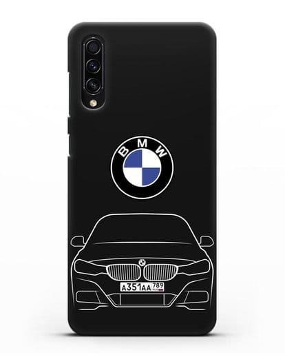 Чехол BMW 3 с автомобильным номером силикон черный для Samsung Galaxy A50s [SM-F507FN]