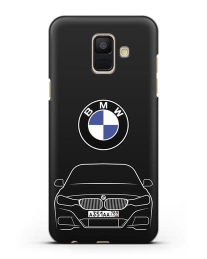 Чехол BMW 3 с автомобильным номером силикон черный для Samsung Galaxy A6 2018 [SM-A600F]