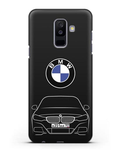 Чехол BMW 3 с автомобильным номером силикон черный для Samsung Galaxy A6 Plus 2018 [SM-A605F]