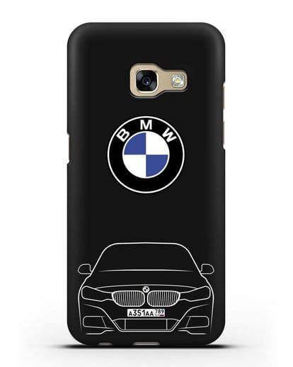 Чехол BMW 3 с автомобильным номером силикон черный для Samsung Galaxy A7 2017 [SM-A720F]