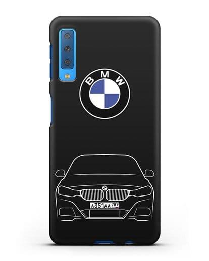 Чехол BMW 3 с автомобильным номером силикон черный для Samsung Galaxy A7 2018 [SM-A750F]
