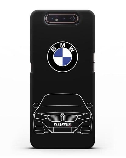 Чехол BMW 3 с автомобильным номером силикон черный для Samsung Galaxy A80 [SM-A805F]