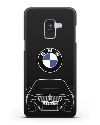 Чехол BMW 3 с автомобильным номером силикон черный для Samsung Galaxy A8 Plus [SM-A730F]