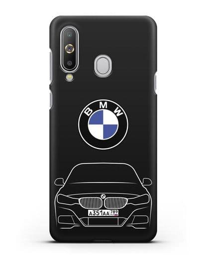 Чехол BMW 3 с автомобильным номером силикон черный для Samsung Galaxy A8s [SM-G8870]