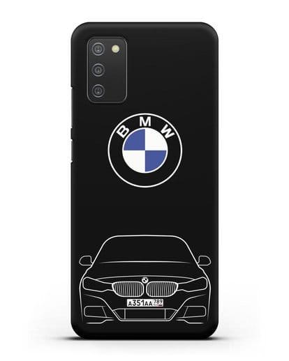 Чехол BMW 3 с автомобильным номером силикон черный для Samsung Galaxy A02s [SM-A025F]