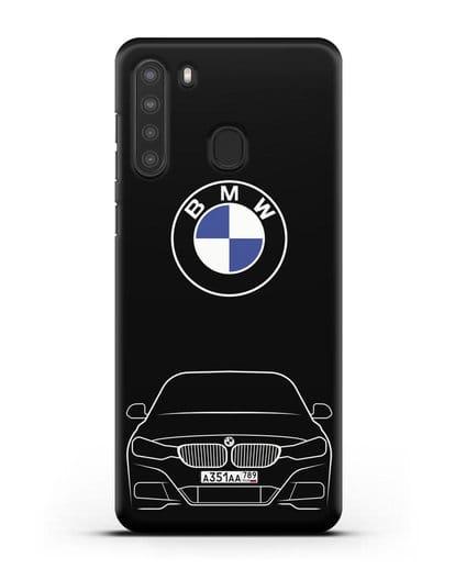 Чехол BMW 3 с автомобильным номером силикон черный для Samsung Galaxy A21 [SM-A215]