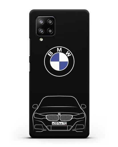 Чехол BMW 3 с автомобильным номером силикон черный для Samsung Galaxy A42 [SM-A426B]