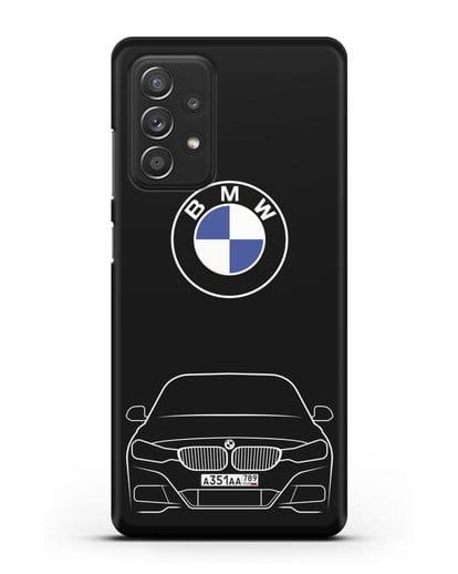Чехол BMW 3 с автомобильным номером силикон черный для Samsung Galaxy A52 5G [SM-A5260]