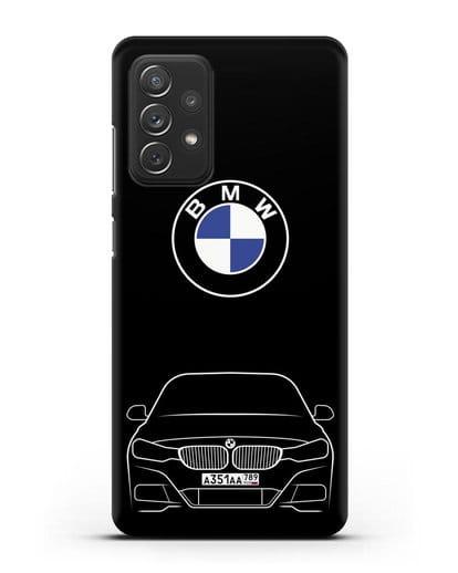Чехол BMW 3 с автомобильным номером силикон черный для Samsung Galaxy A72 [SM-A725F]