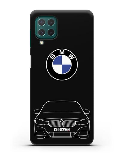 Чехол BMW 3 с автомобильным номером силикон черный для Samsung Galaxy M62 [SM-M625F]