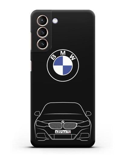 Чехол BMW 3 с автомобильным номером силикон черный для Samsung Galaxy S21 [SM-G991B]