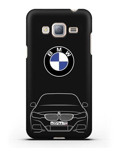 Чехол BMW 3 с автомобильным номером силикон черный для Samsung Galaxy J3 2016 [SM-J320F]