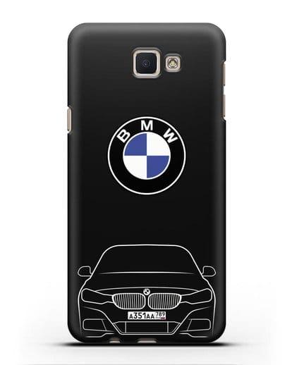 Чехол BMW 3 с автомобильным номером силикон черный для Samsung Galaxy J5 Prime [SM-G570]