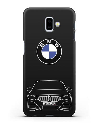 Чехол BMW 3 с автомобильным номером силикон черный для Samsung Galaxy J6 Plus [SM-J610F]