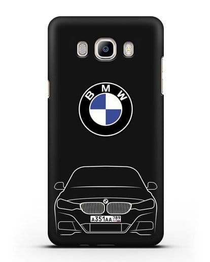 Чехол BMW 3 с автомобильным номером силикон черный для Samsung Galaxy J7 2016 [SM-J710F]
