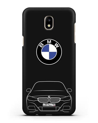 Чехол BMW 3 с автомобильным номером силикон черный для Samsung Galaxy J7 2017 [SM-J720F]