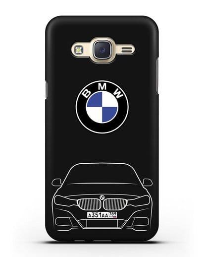 Чехол BMW 3 с автомобильным номером силикон черный для Samsung Galaxy J7 Neo [SM-J701F]