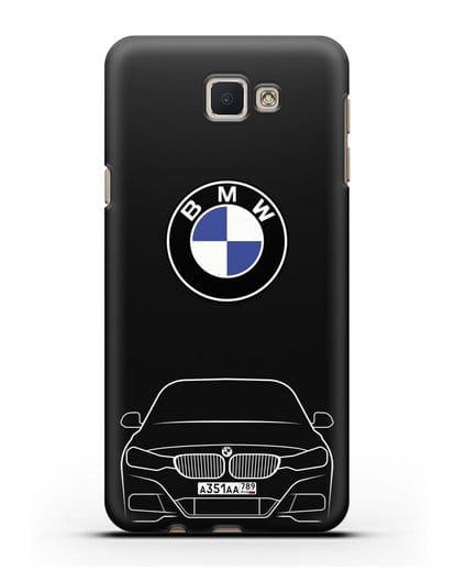 Чехол BMW 3 с автомобильным номером силикон черный для Samsung Galaxy J7 Prime [SM-G610F]