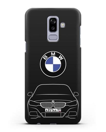 Чехол BMW 3 с автомобильным номером силикон черный для Samsung Galaxy J8 2018 [SM-J810F]