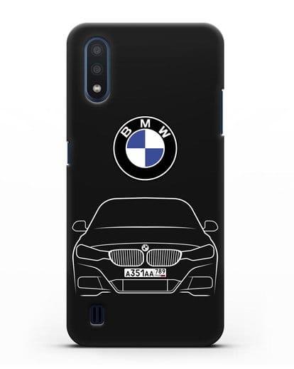 Чехол BMW 3 с автомобильным номером силикон черный для Samsung Galaxy M01 [SM-M015F]