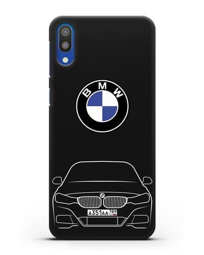Чехол BMW 3 с автомобильным номером силикон черный для Samsung Galaxy M10 [SM-M105F]
