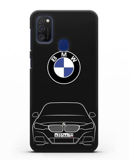 Чехол BMW 3 с автомобильным номером силикон черный для Samsung Galaxy M21 [SM-M215F]