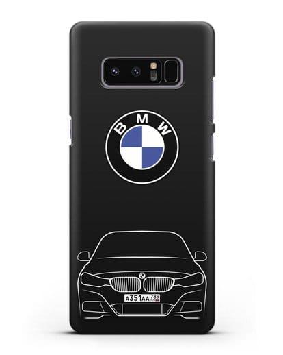 Чехол BMW 3 с автомобильным номером силикон черный для Samsung Galaxy Note 8 [N950F]