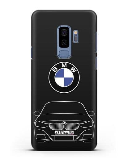 Чехол BMW 3 с автомобильным номером силикон черный для Samsung Galaxy S9 Plus [SM-G965F]