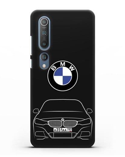 Чехол BMW 3 с автомобильным номером силикон черный для Xiaomi Mi 10 Pro