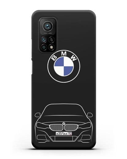 Чехол BMW 3 с автомобильным номером силикон черный для Xiaomi Mi 10t Pro