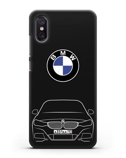 Чехол BMW 3 с автомобильным номером силикон черный для Xiaomi Mi 8 Pro