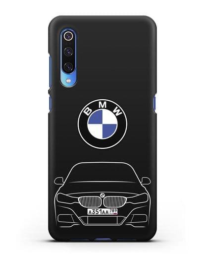 Чехол BMW 3 с автомобильным номером силикон черный для Xiaomi Mi 9