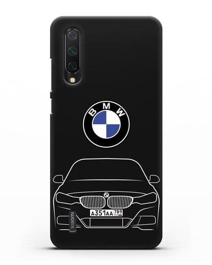 Чехол BMW 3 с автомобильным номером силикон черный для Xiaomi Mi 9 Lite