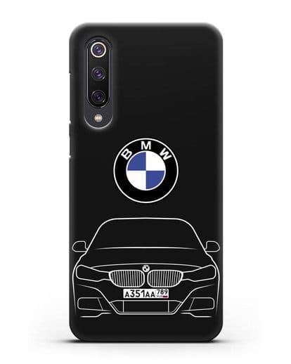 Чехол BMW 3 с автомобильным номером силикон черный для Xiaomi Mi 9 SE