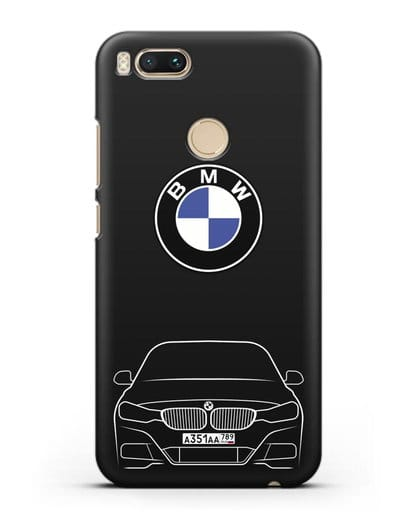 Чехол BMW 3 с автомобильным номером силикон черный для Xiaomi Mi A1