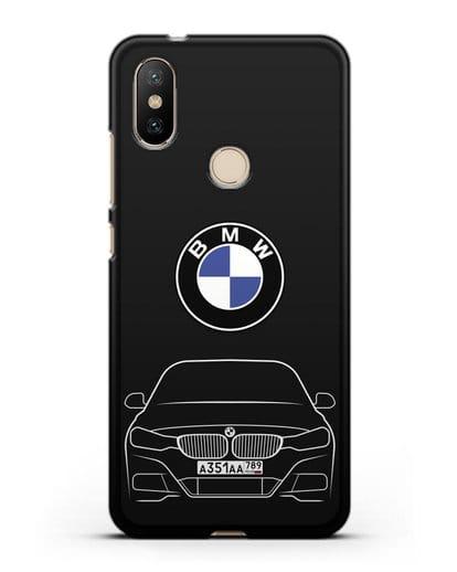 Чехол BMW 3 с автомобильным номером силикон черный для Xiaomi Mi A2