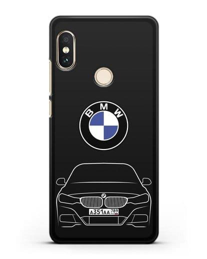 Чехол BMW 3 с автомобильным номером силикон черный для Xiaomi Mi A2 Lite