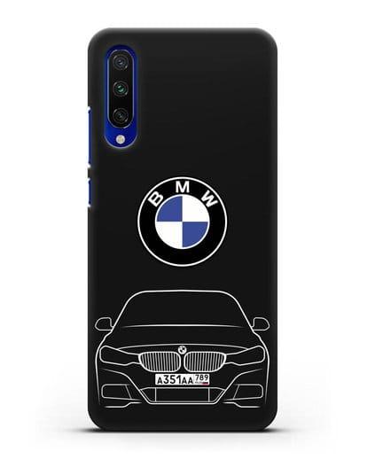 Чехол BMW 3 с автомобильным номером силикон черный для Xiaomi Mi A3
