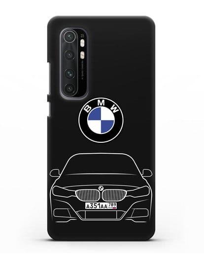 Чехол BMW 3 с автомобильным номером силикон черный для Xiaomi Mi Note 10 lite