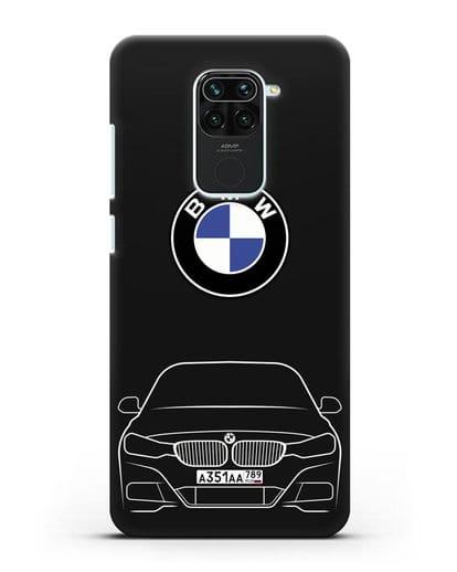 Чехол BMW 3 с автомобильным номером силикон черный для Xiaomi Redmi 10X