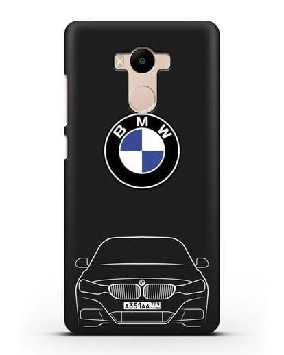 Чехол BMW 3 с автомобильным номером силикон черный для Xiaomi Redmi 4 Pro