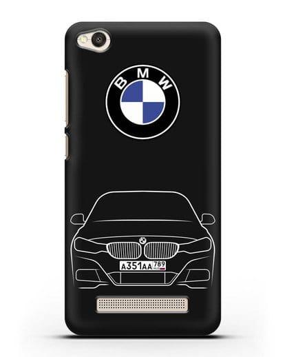 Чехол BMW 3 с автомобильным номером силикон черный для Xiaomi Redmi 4A