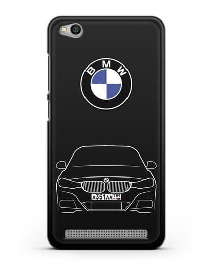 Чехол BMW 3 с автомобильным номером силикон черный для Xiaomi Redmi 5A