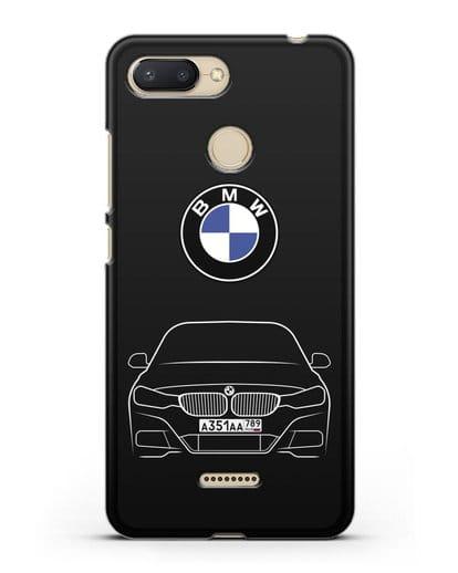 Чехол BMW 3 с автомобильным номером силикон черный для Xiaomi Redmi 6