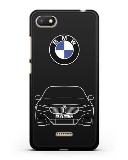 Чехол BMW 3 с автомобильным номером силикон черный для Xiaomi Redmi 6A