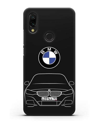 Чехол BMW 3 с автомобильным номером силикон черный для Xiaomi Redmi 7