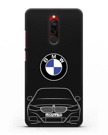 Чехол BMW 3 с автомобильным номером силикон черный для Xiaomi Redmi 8